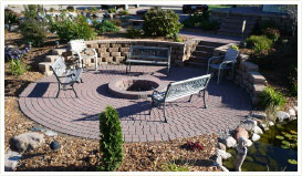 Round patio with firepit