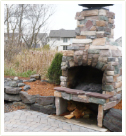 Outdoor fireplace on Patio